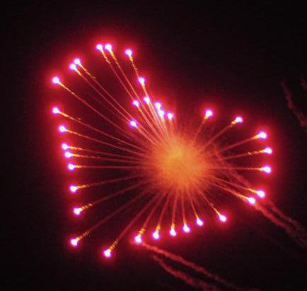 Phosphor Wedding Fireworks Display Heart Bursts